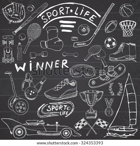 Sport life sketch doodles elements. Hand drawn set with baseball bat, glove, bowling, hockey tennis items, race car, cup medal, boxing, winter sports. Drawing collection, on chalkboard background. - stock vector