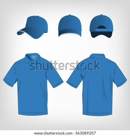 Sport light blue polo shirt and baseball cap isolated set vector - stock vector