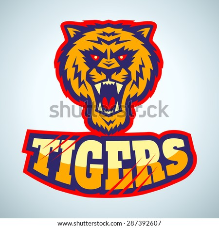 Sport logo with angry tiger head - stock vector