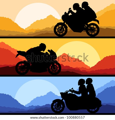 Sport motorbike riders motorcycle silhouettes collection in wild mountain landscape background illustration vector - stock vector