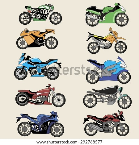 Sport Motorcycles image design set  for your creative needs. - stock vector