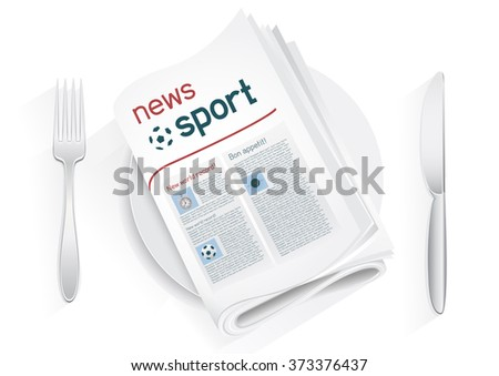 Sport newspaper on a plate on a white background. News of the sport entertainment. Fork and knife to eat news. News kitchen. Cooking breaking sport news. - stock vector
