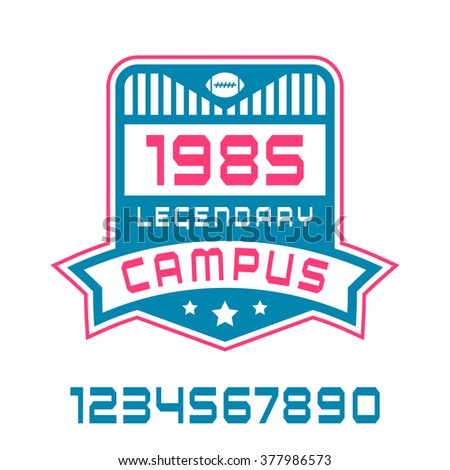 Sport numbers and campus emblem. Graphic design for t-shirt. Color print on white background - stock vector