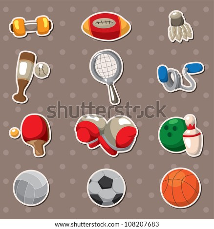 Sport objects stickers - stock vector