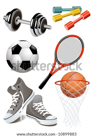 Sport objects, vector illustration, EPS file included - stock vector