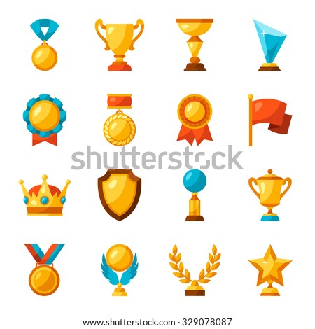 Sport or business trophy award icons set. - stock vector