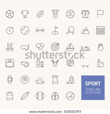 Sport Outline Icons for web and mobile apps - stock vector