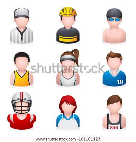 Sport people icon.Transparent shadows placed on layer beneath. - stock vector