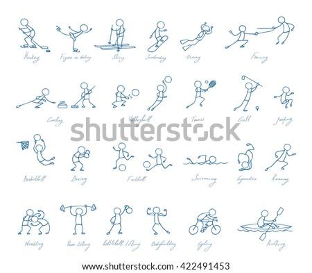 sport people vector set - stock vector