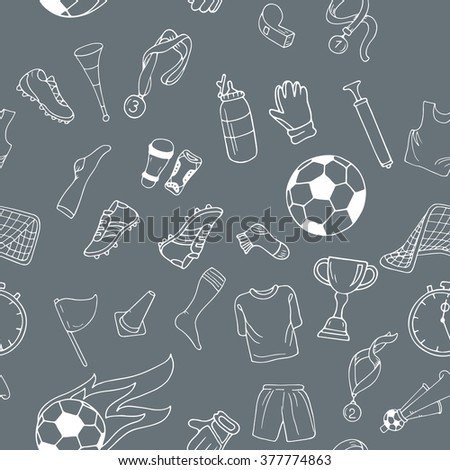 Sport seamless pattern with white soccer doodle outline objects on gray background - stock vector