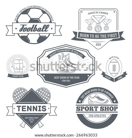 Sport set label template of emblem element for your product or design, web and mobile applications with text. Vector illustration with thin lines isolated icons on stamp symbol.  - stock vector