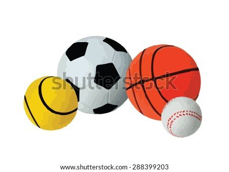 Sport set with soccer basketball tennis ball and  baseball equipment isolated vector illustration - stock vector