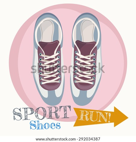 Sport shoes. Bright Sport sneakers symbol. Vector illustration isolated on rose circle background. - stock vector