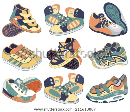 sport shoes isolated on white (vector illustration) - stock vector