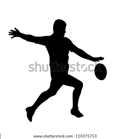 Sport Silhouette - Rugby Football Player Maring Running Kicking For Touch - stock vector