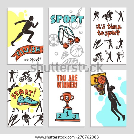 Sport sketch paper cards set with athletes figures isolated vector illustration - stock vector