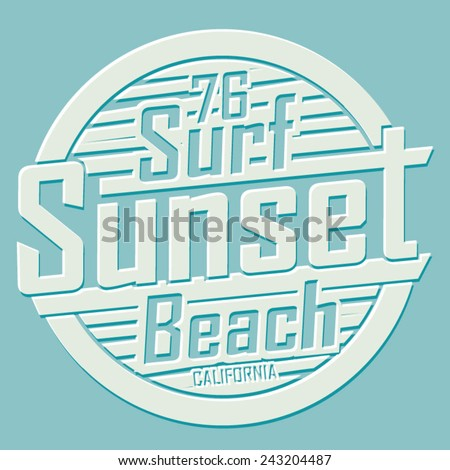 Sport surf typography, t-shirt graphics, vectors - stock vector
