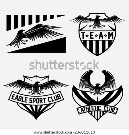 sport team crests set with eagles vector design template - stock vector