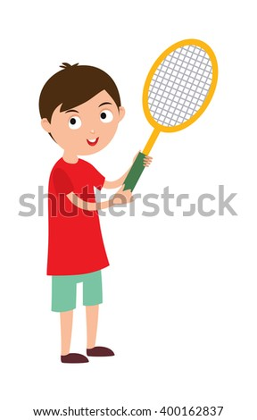 Sport tennis player and athletic tennis player with racket. Tennis player health racket sport leisure. Good looking tennis player prepared for active game, action sport competition cartoon vector. - stock vector