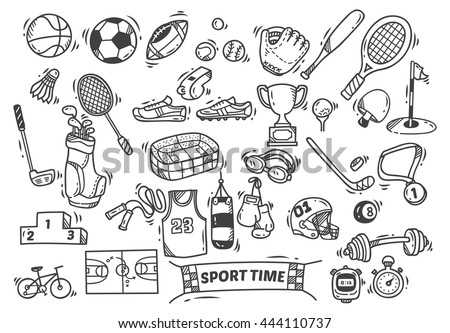 sport themed doodle - stock vector