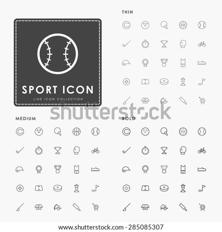 sport thin, medium and bold line icons - stock vector