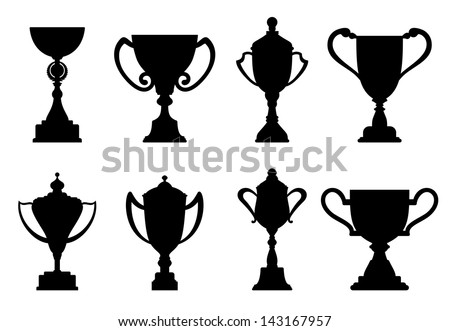Sport trophies and awards isolated on white background or idea of logo. Jpeg version also available in gallery  - stock vector