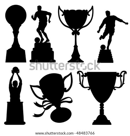 Sport Trophies Silhouettes - stock vector