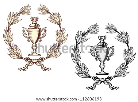 Sport trophy with laurel wreath in retro style, such a logo. Jpeg version also available in gallery - stock vector