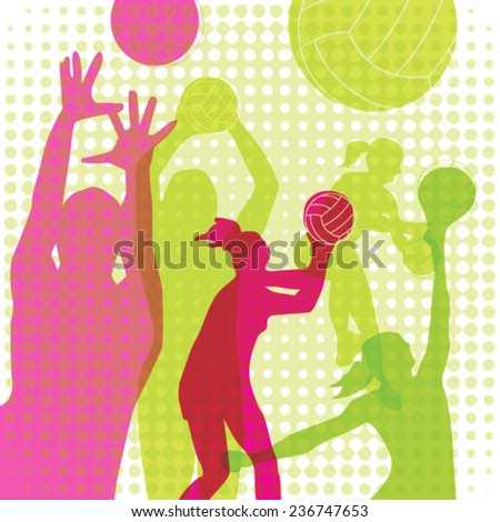 Sport Volleyball, Vector Illustration of a volleyball players. - stock vector