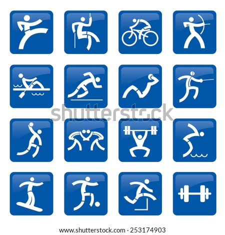 Sport web buttons. Set of blue web icons, buttons with sport and fitness activities. Vector illustration. - stock vector