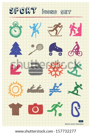 Sport web icons set drawn by color pencils. Hand drawn vector elements pack isolated on paper - stock vector