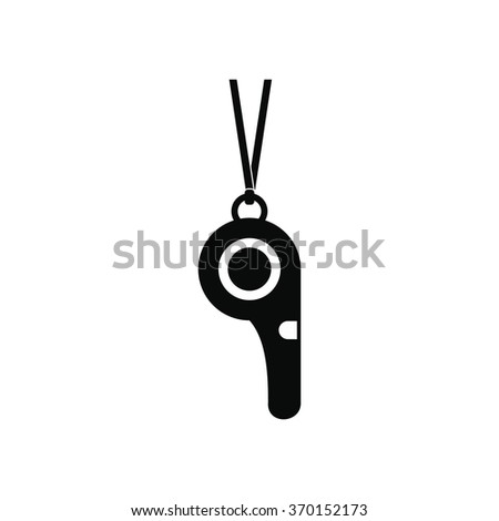 Sport whistle black simple icon isolated on white background - stock vector