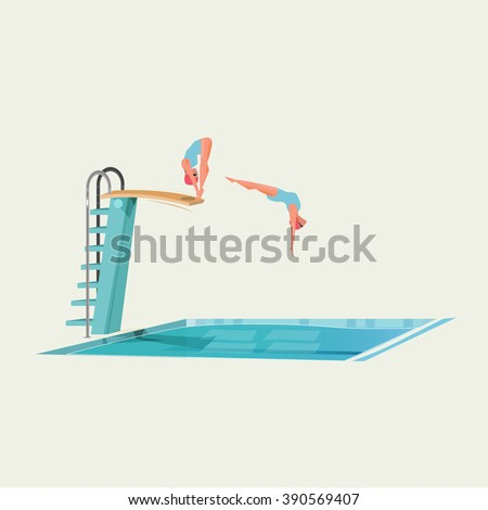 sport women standing on diving board, preparing to jump and dive - vector illustration - stock vector