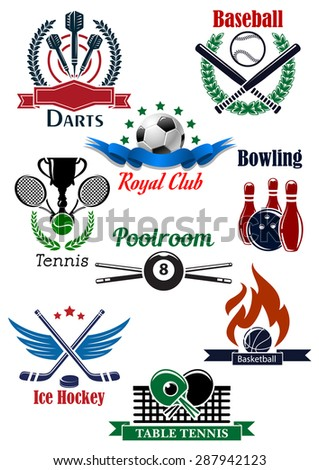 Sporting emblems templates for darts, baseball, soccer or football, bowling, tennis, billiards, ice hockey, basketball and table tennis with game equipments, attributes, heraldic elements - stock vector
