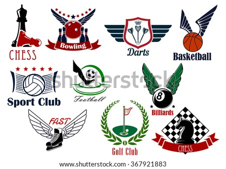 Sporting game retro emblems design for competitive sport games such as football or soccer, basketball, ice hockey, golf, chess, volleyball, darts, bowling and billiards - stock vector