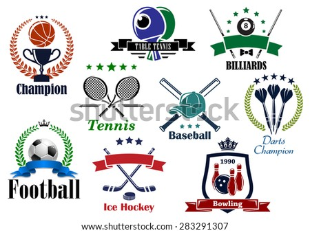 Sporting icons and emblems with football, soccer, basketball, billiards, tennis, bowling, baseball, table tennis, darts heraldic elements - stock vector