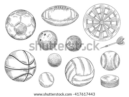 Sporting items isolated sketches with balls for soccer or football, volleyball and basketball, rugby and baseball, golf and tennis, bowling and billiards, dart board with arrow and ice hockey puck - stock vector