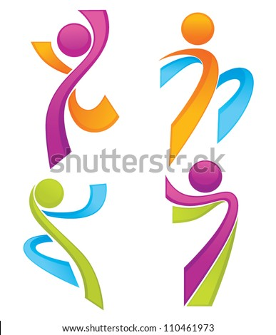 sportive people symbols look like ribbons, vector collection - stock vector