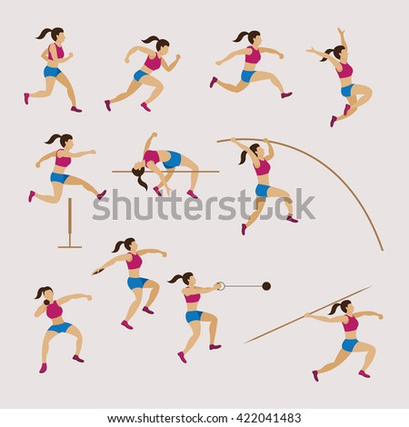 Sports Athletes, Track and Field, Women Set, Games, Action, Exercise - stock vector