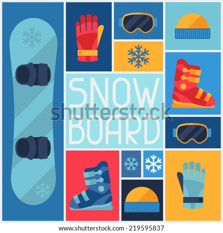 Sports background with snowboard equipment flat icons. - stock vector
