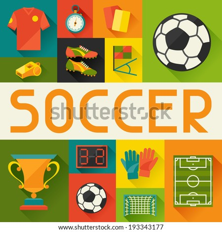 Sports background with soccer (football) flat icons. - stock vector