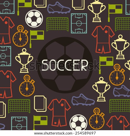 Sports background with soccer football symbols in flat style. - stock vector