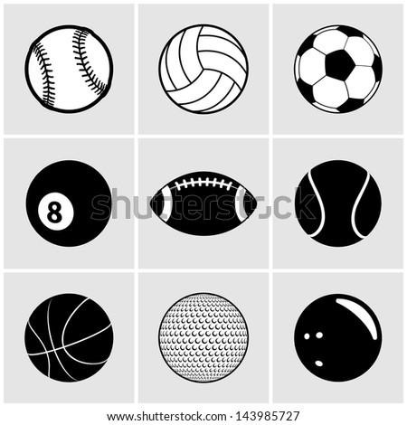 Sports Ball Icon Set - stock vector