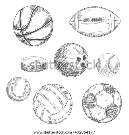 Sports balls and ice hockey puck sketches with american football and soccer, ice hockey and basketball, baseball and volleyball, bowling and tennis balls. Sport team or competition design usage - stock vector