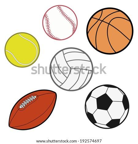 Sports Balls  (baseball, basketball, tennis ball, volleyball, rugby, soccer ball) Illustration Vector - stock vector