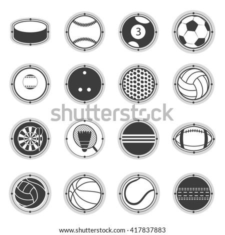 Sports Balls. Football, basketball, golf, volleyball, hockey, american football, tennis, billiard, baseball, bowling, cricket, croquet, badminton, darts, golf, ping pong - stock vector