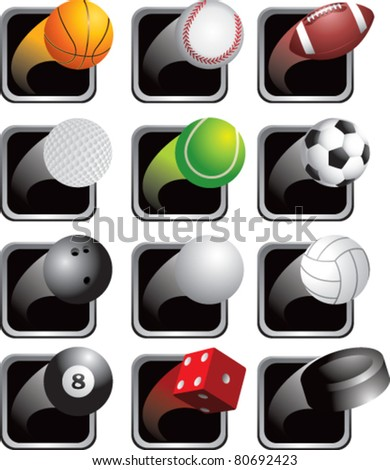 Sports balls on black square web buttons - stock vector
