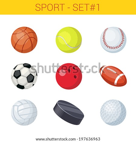 Sports balls vector icon set. Basketball, tennis, baseball, football, soccer, volleyball, bowling, hockey, golf. Sport collection. - stock vector