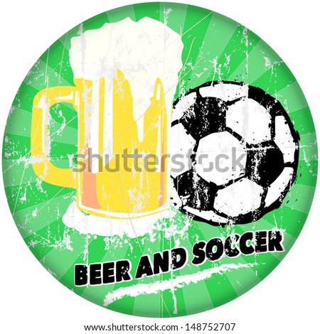 sports bar and beer / soccer sign, vector illustration - stock vector