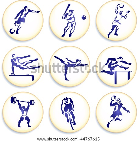 Sports Buttons Collections Original Vector Illustration - stock vector
